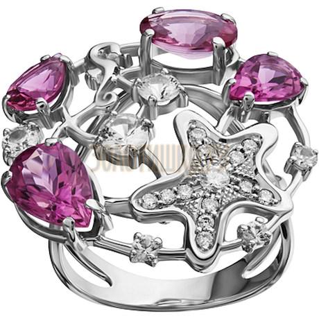 Кольцо из белого золота с турмалином, бриллиантами и сапфиром 1_01909