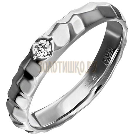 Обручальное кольцо из белого золота с бриллиантом 1_02040
