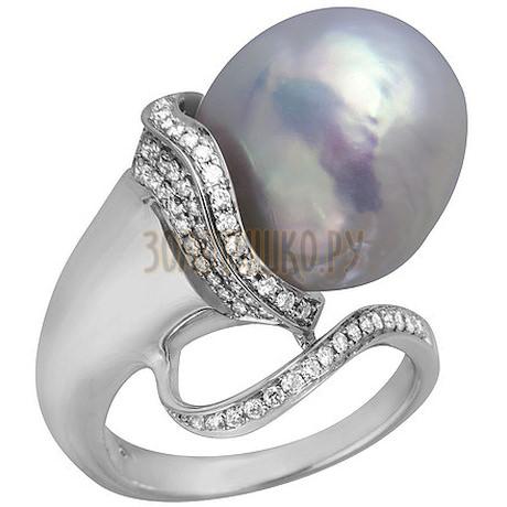 Кольцо из белого золота с жемчугом культивированным и бриллиантами 1_02066