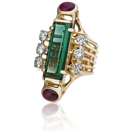 Золотое кольцо с турмалином и бриллиантами 1_02322