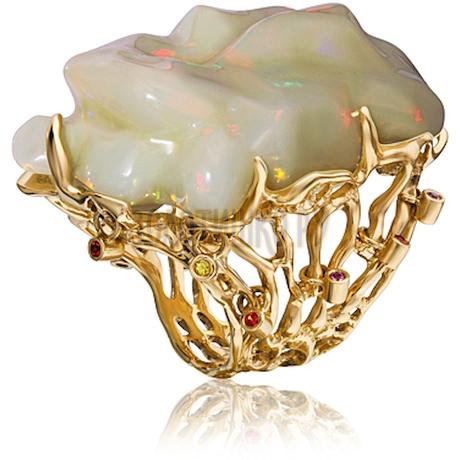 Золотое кольцо с опалом и сапфиром 1_02458
