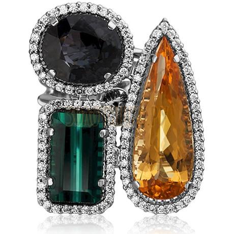 Кольцо из белого золота с турмалином, бриллиантами, спессартином и топазом империал 1_02509