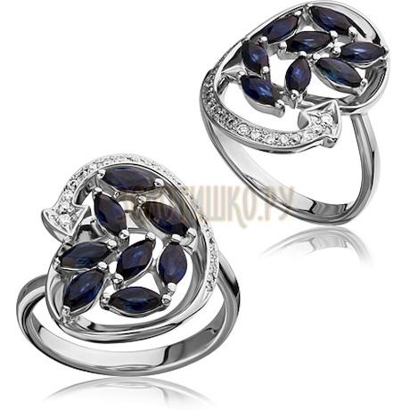 Кольцо из белого золота с сапфиром и бриллиантами 1_02514
