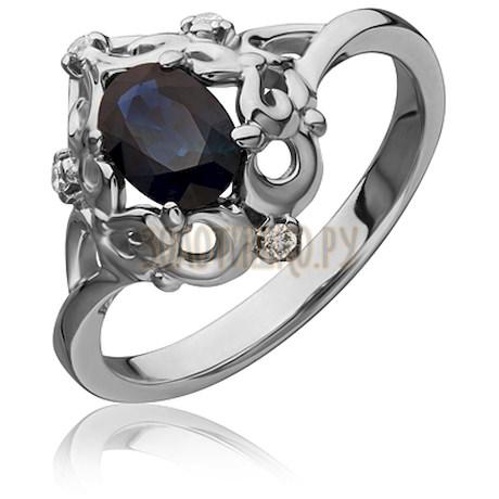 Кольцо из белого золота с сапфиром и бриллиантами 1_02517