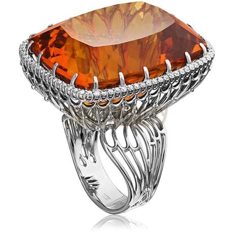Кольцо из белого золота с кунцитом и бриллиантами 1_02532
