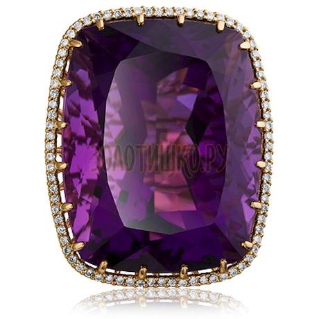 Золотое кольцо с аметистом и бриллиантами 1_02532