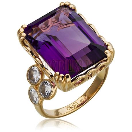 Золотое кольцо с аметистом и сапфиром 1_02539