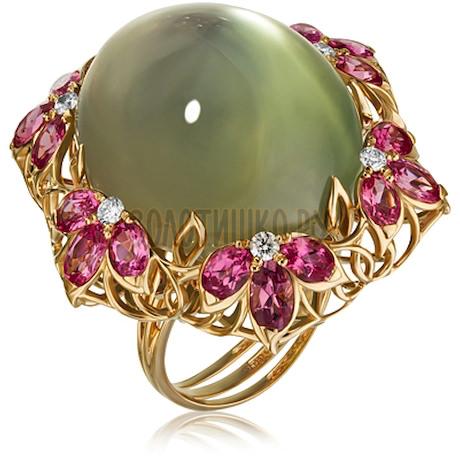 Золотое кольцо с лунным камнем, бриллиантами и шпинелью 1_02604