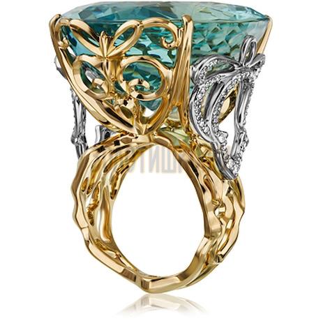 Золотое кольцо с аквамарином и бриллиантами 1_02681