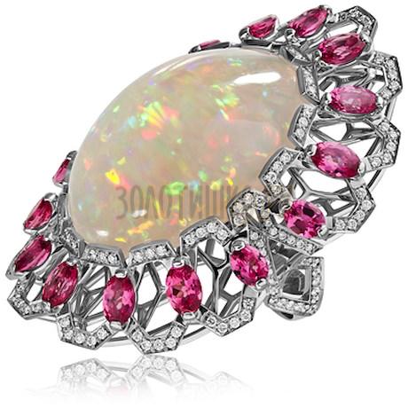 Кольцо из белого золота с опалом, бриллиантами и шпинелью 1_02710