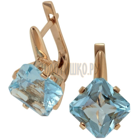 Золотые серьги с топазом 2_00161