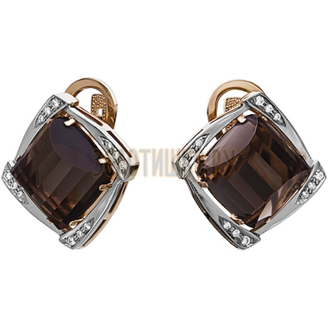 Золотые серьги с кварцем дымчатым и бриллиантами 2_00294