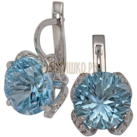 Серьги из белого золота с топазом и бриллиантами 2_00734