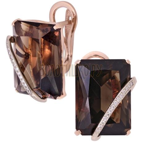 Золотые серьги с кварцем дымчатым и бриллиантами 2_00750