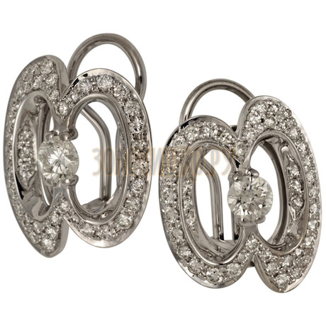 Серьги из белого золота с сапфиром и бриллиантами 2_00985