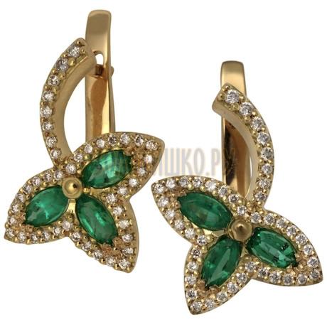 Золотые серьги с изумрудом и бриллиантами 2_01022