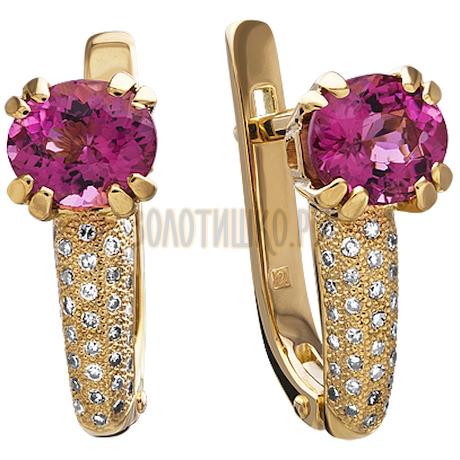 Золотые серьги с турмалином и бриллиантами 2_01390