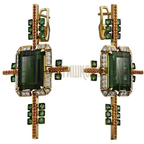 Золотые серьги с турмалином, бриллиантами, сапфиром и тсаворитом 2_01407