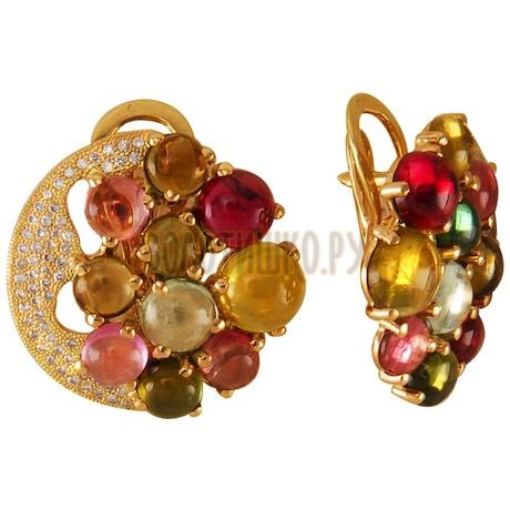 Золотые серьги с турмалином и бриллиантами 2_01432