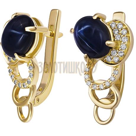 Золотые серьги с сапфиром звездчатым и бриллиантами 2_01659