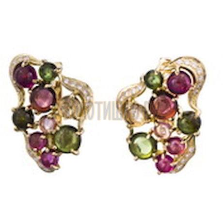 Золотые серьги с турмалином и бриллиантами 2_01941