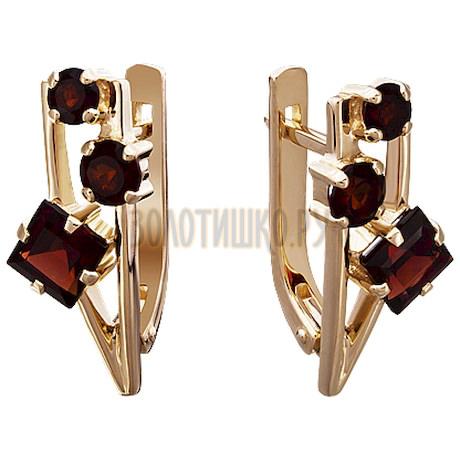 Золотые серьги с гранатом 2_01953