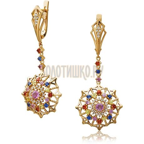Золотые серьги с сапфиром и бриллиантами 2_02504
