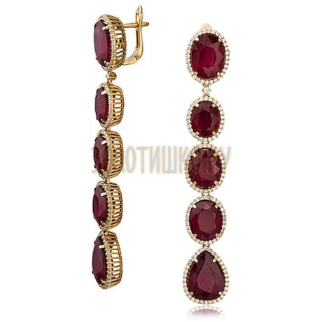 Золотые серьги с рубином и бриллиантами 2_02506