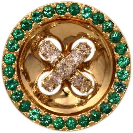 Золотая подвеска с бриллиантами и изумрудом 3_00211