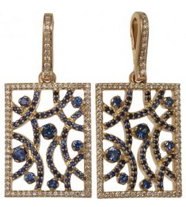 Золотая подвеска с сапфиром и бриллиантами