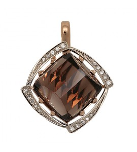 Золотая подвеска с кварцем дымчатым и бриллиантами