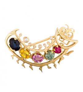 Золотая брошь с сапфиром, бриллиантами и рубином